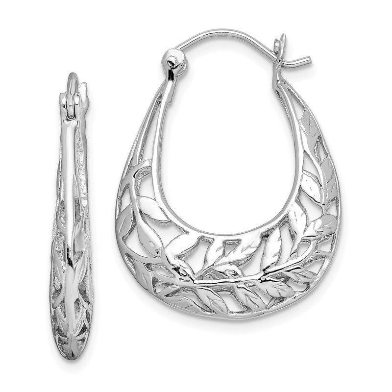 Quality Gold Sterling Silver Rhodium-plated Polished Leaves Hinged Hoop Earrings