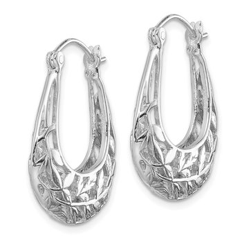 Sterling Silver Rhodium-plated Polished Leaves Hinged Hoop Earrings