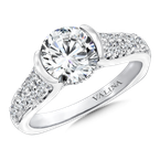 Valina Bridals Mounting with side stones .58 ct. tw., 1 1/2 ct. round center.