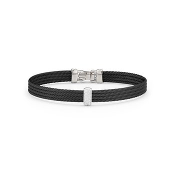 Black Cable Barred Bracelet with 18kt White Gold & Diamonds