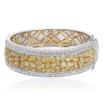 Two Tone Diamond Cluster Bangle