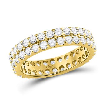 14kt Yellow Gold Womens Round Diamond Double Row Eternity Wedding Band 2.00 Cttw
