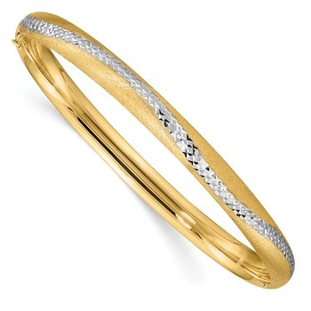 14k 4/16 w/White Rhodium D/C Hinged Snake Patterned Bangle