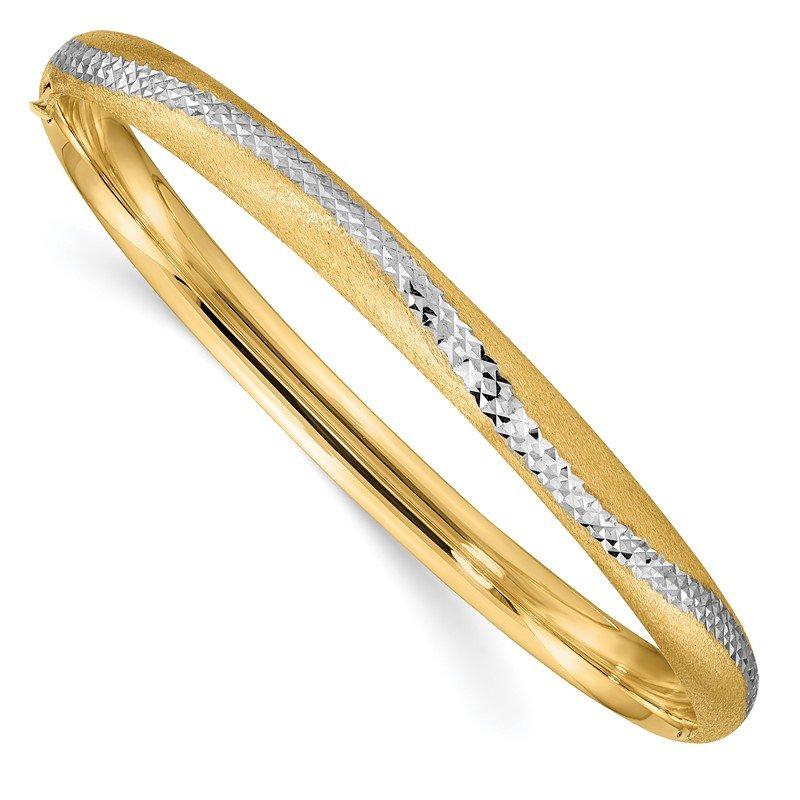 J.F. Kruse Signature Collection 14k 4/16 w/White Rhodium D/C Hinged Snake Patterned Bangle