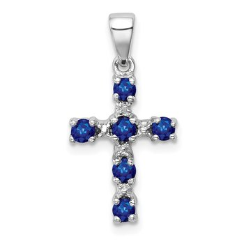 Sterling Silver Rhodium Dark Sapphire & Diamond Accent Cross Pendant