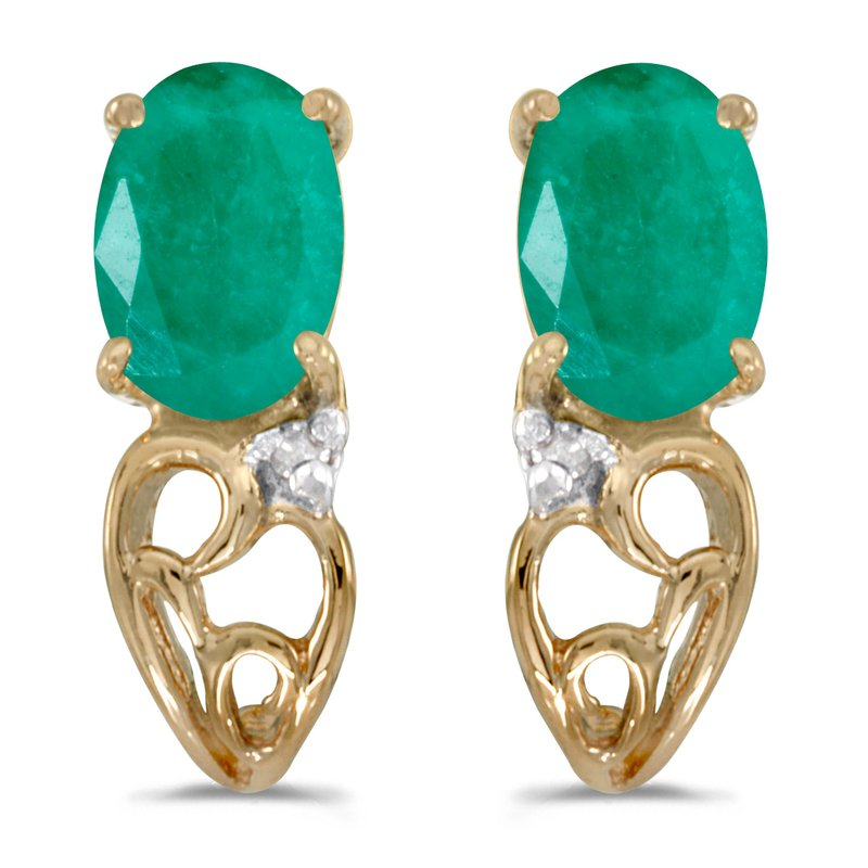 Color Merchants 14k Yellow Gold Oval Emerald And Diamond Earrings
