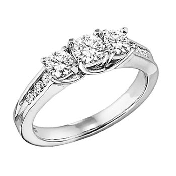 18K Diamond 9 Stone Ring 1 ctw