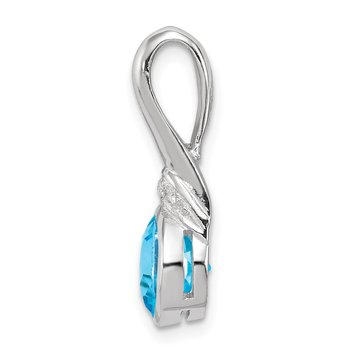 Sterling Silver Rhodium-plated w/CZ and Blue Topaz Pendant