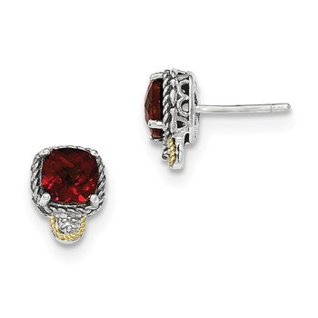 Sterling Silver w/14k Garnet & Diamond Post Earrings