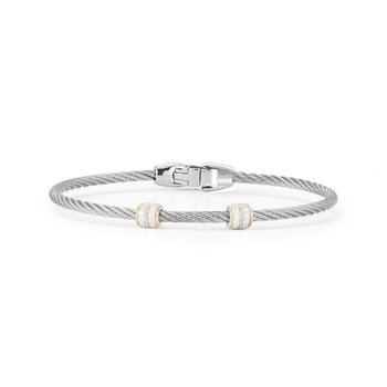 Grey Cable Double Barrel Station Stackable Bracelet with 18kt Yellow Gold & Diamonds