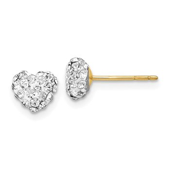 14K Post 6mm Crystal Heart Post Stud Earrings
