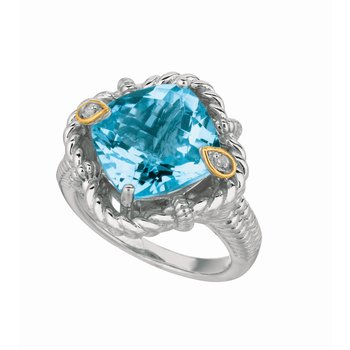 Silver & 18K Topaz Italian Cable Ring