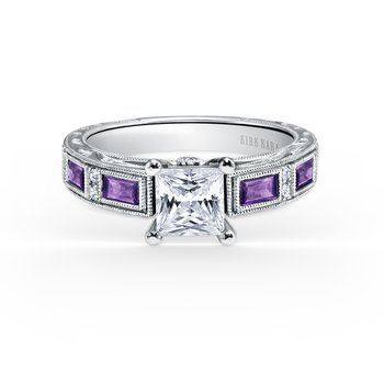 Amethyst Deco Diamond Engagement Ring