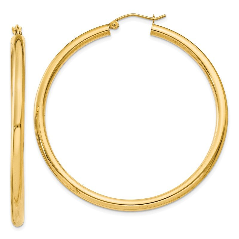 Quality Gold 14K Polished 3mm Lightweight Tube Hoop Earrings