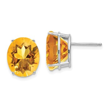 14k White Gold 12x10mm Oval Citrine Earrings