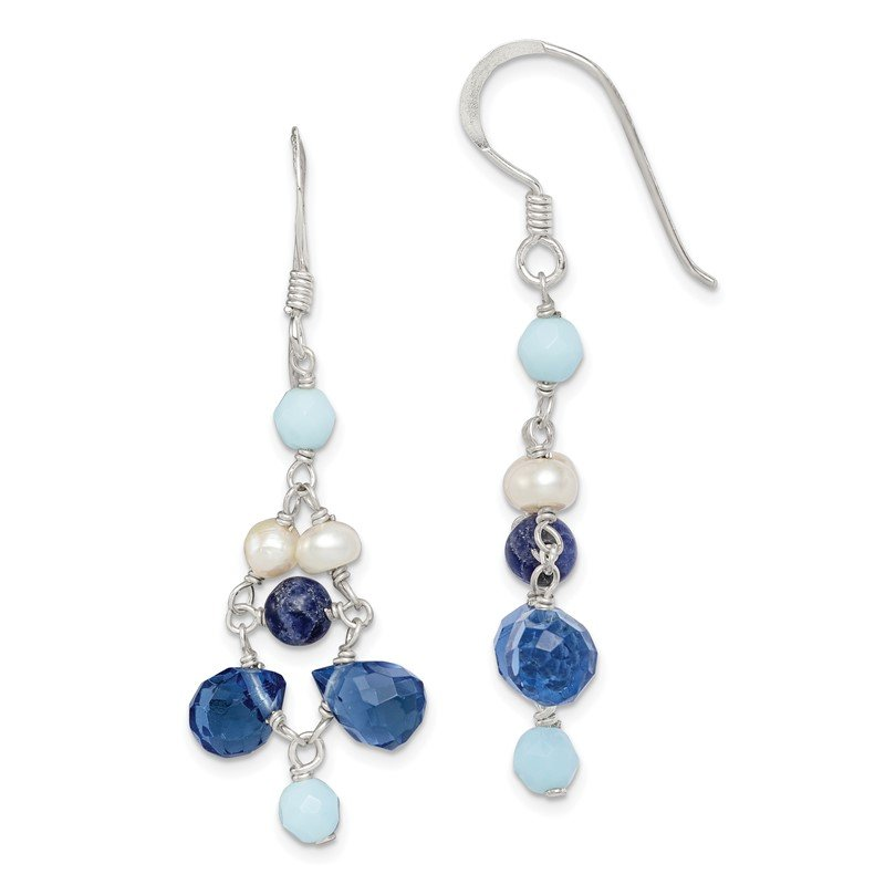 Quality Gold Sterling Silver Dark Blue Crystal / Lapis / FWC Pearl Earrings