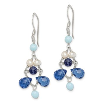 Sterling Silver Dark Blue Crystal/Lapis/FW Cultured Pearl Earrings