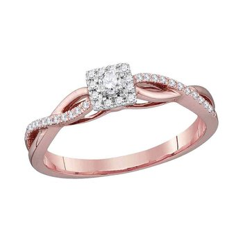 10kt Rose Gold Womens Round Diamond Solitaire Twist Bridal Wedding Engagement Ring 1/5 Cttw