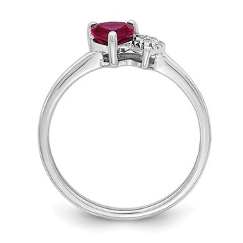 Sterling Silver Polished Created Ruby and Diamond Ring