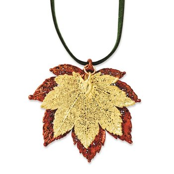 Iridescent Copper/24k Gold Dipped Double Full Moon Maple Leaf 20in Necklace