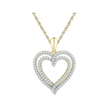 10kt Yellow Gold Womens Round Diamond Double Frame Heart Pendant 1/2 Cttw