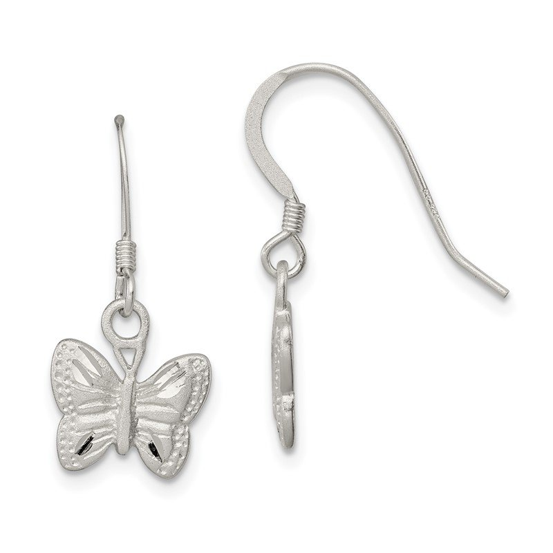 Quality Gold Sterling Silver Polished Butterfly Earrings