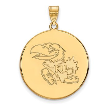 Gold-Plated Sterling Silver University of Kansas NCAA Pendant
