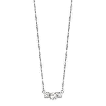Sterling Silver Rhodium-plated CZ 3-Stone w/1in ext. Necklace