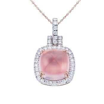 14K Rose Gold Rose Quartz Cushion Pendant