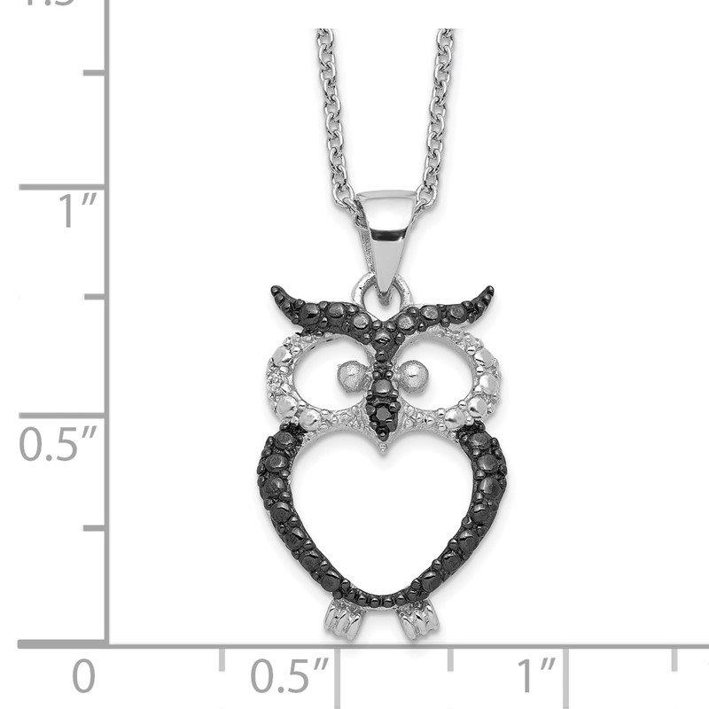 Cheryl M Cheryl M Sterling Silver Black Rhodium & CZ Owl 18in Necklace