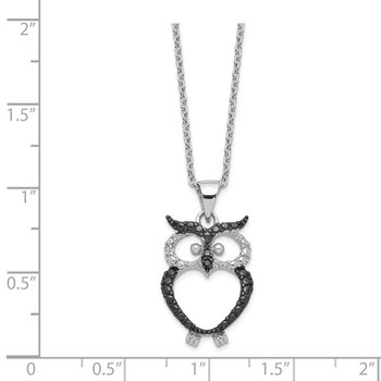 Cheryl M Sterling Silver Black Rhodium & CZ Owl 18in Necklace