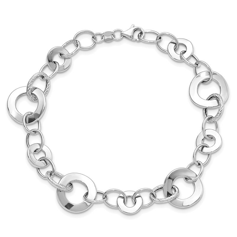 Leslie's Leslie's 14k White Gold Polished Textured Necklace