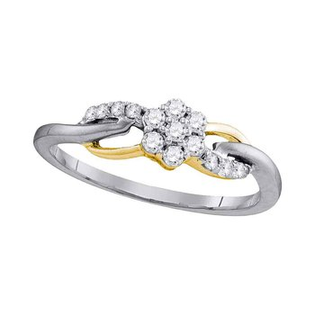 10kt White Gold Womens Round Diamond Flower Cluster Infinity Ring 1/4 Cttw