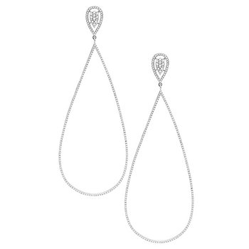Diamond Teardrop earrings (on post) in 14K White Gold with 410 diamonds weighing 1.62ct tw