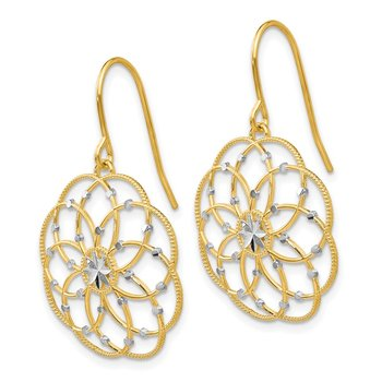 14k & Rhodium Diamond-cut Fancy Shepherd Hook Earrings