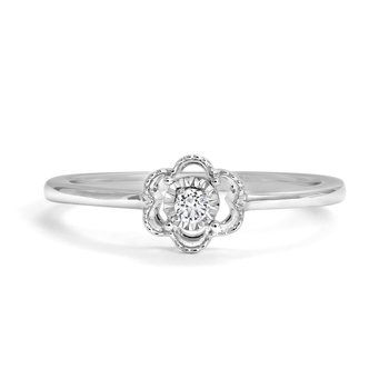 Flower-Shaped Diamond Accent Ring