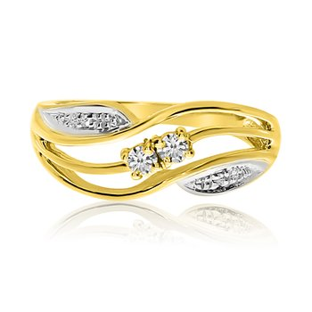 14K Yellow Gold Swirl Two-Stone Diamond Ring