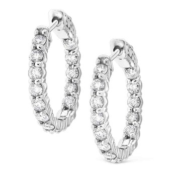 Diamond Inside Out Hoops in 14K White Gold with 30 Diamonds Weighing  2.28ct tw