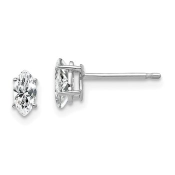 14k White Gold 6x3mm Marquise Cubic Zirconia earring