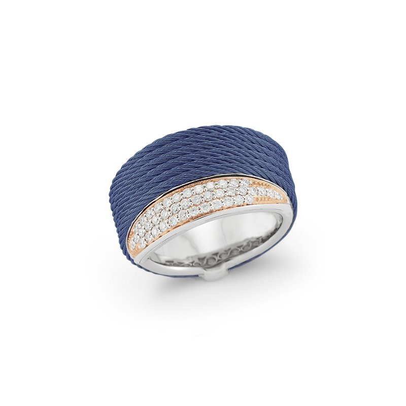 ALOR Blueberry Cable Peekaboo Ring with 18kt Rose Gold & Diamonds