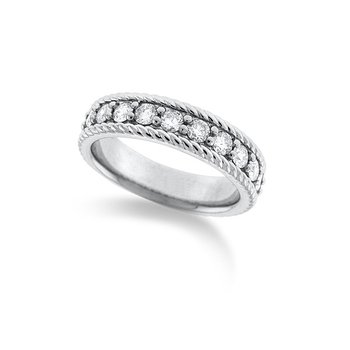 Diamond Stackable Rope Ring in 14k White Gold with 11 Diamonds weighing .70ct tw
