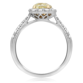Tapered Shank Yellow Diamond Halo Ring