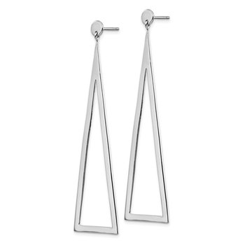 Sterling Silver Rhodium-plated Polished Triangle Dangle Earrings