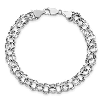 14k White Gold Lite 7.5mm Double Link Charm Bracelet