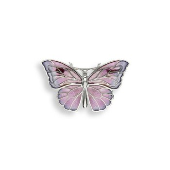 Purple Butterfly Brooch-Pendant.Sterling Silver - Plique-a-Jour