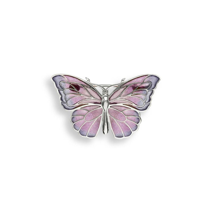 Nicole Barr Designs Purple Butterfly Brooch-Pendant.Sterling Silver - Plique-a-Jour