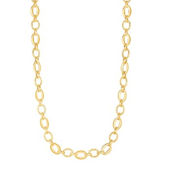 14K Gold Polished Oval & Diamond Cut Link Chain