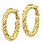 Quality Gold 10k 4x20 Twisted Round Omega Back Hoop Earrings