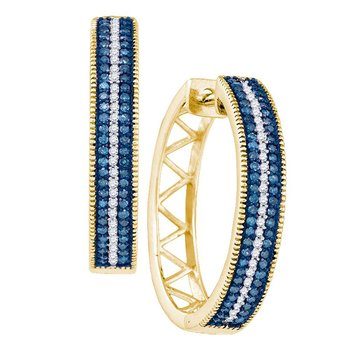 10kt Yellow Gold Womens Round Blue Color Enhanced Diamond Hoop Earrings 1/2 Cttw