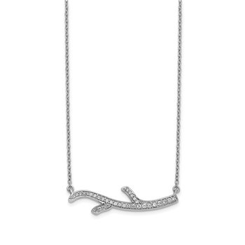 14k White Gold Diamond Branch Necklace